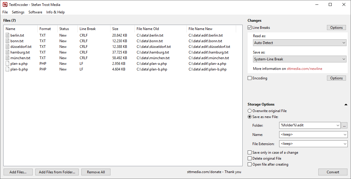 TextEncoder - Change Linebreak Type - Screenshot