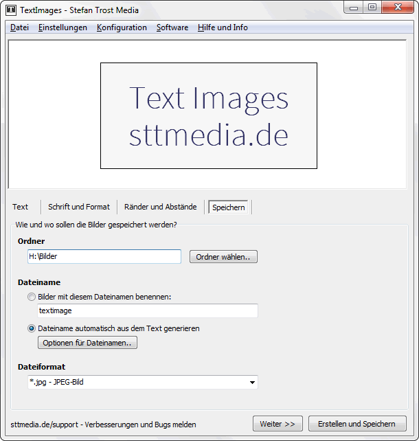TextImages - Speichern - Screenshot