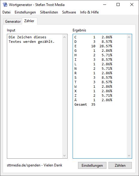 Wortgenerator - Der Zähler - Screenshot
