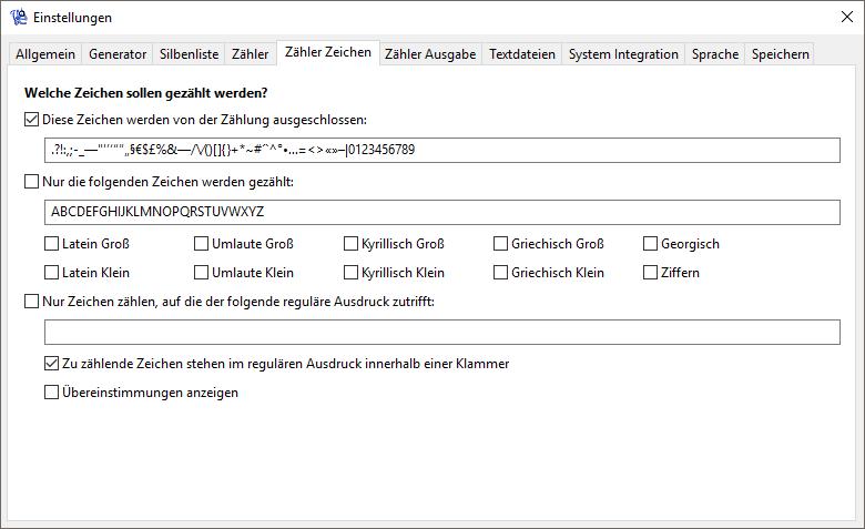Wortgenerator - Zähler Einstellungen - Zeichen - Screenshot