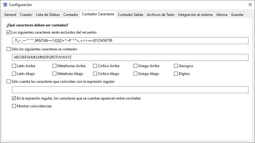 WordCreator - Configuración del Contador- Caracteres - Captura de Pantalla