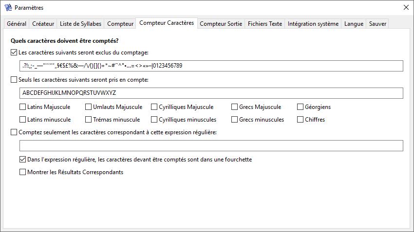 WordCreator - Paramètres du Compteur - Caractères - Capture d'écran