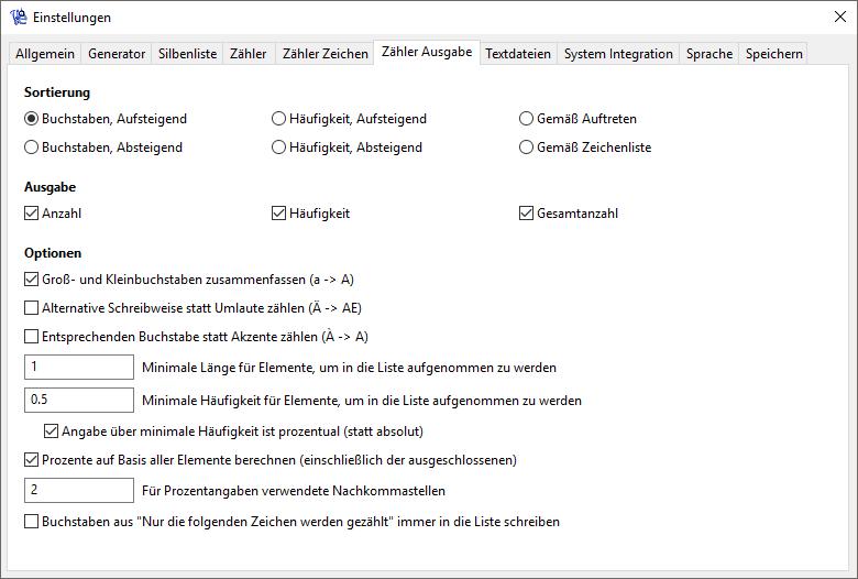Wortgenerator - Zähler Einstellungen - Ausgabe - Screenshot