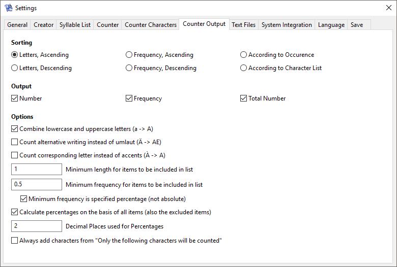 WordCreator - Counter Settings - Output - Screenshot