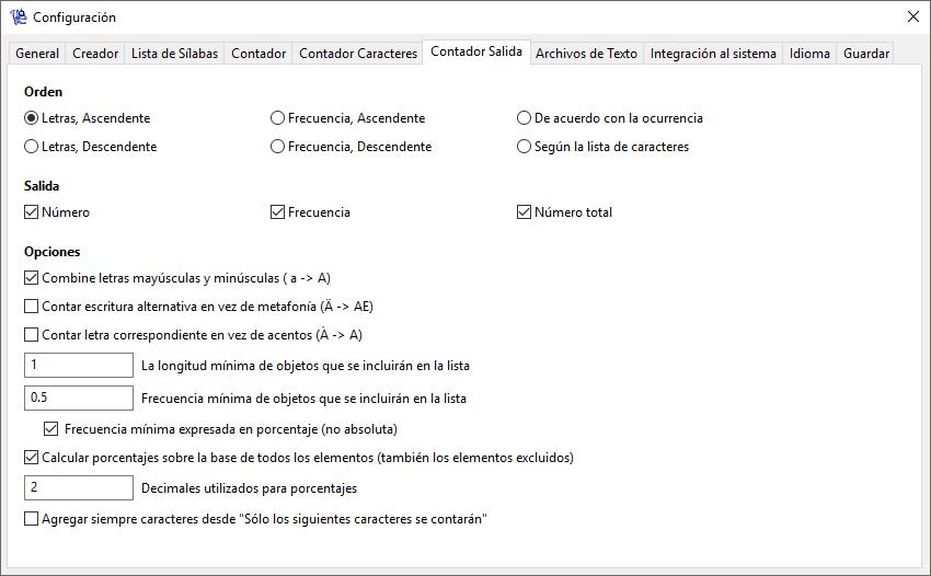 WordCreator - Configuración del Contador - Salida - Captura de Pantalla