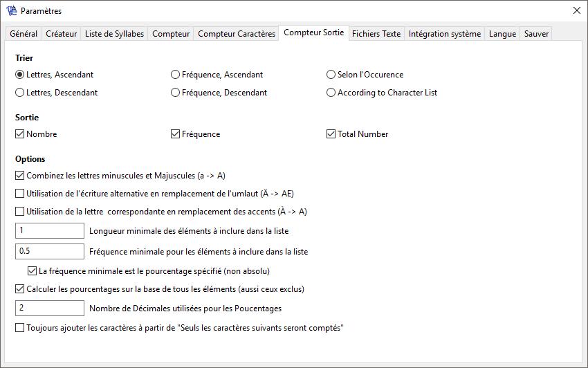 WordCreator - Paramètres du Compteur - Sortie - Capture d'écran