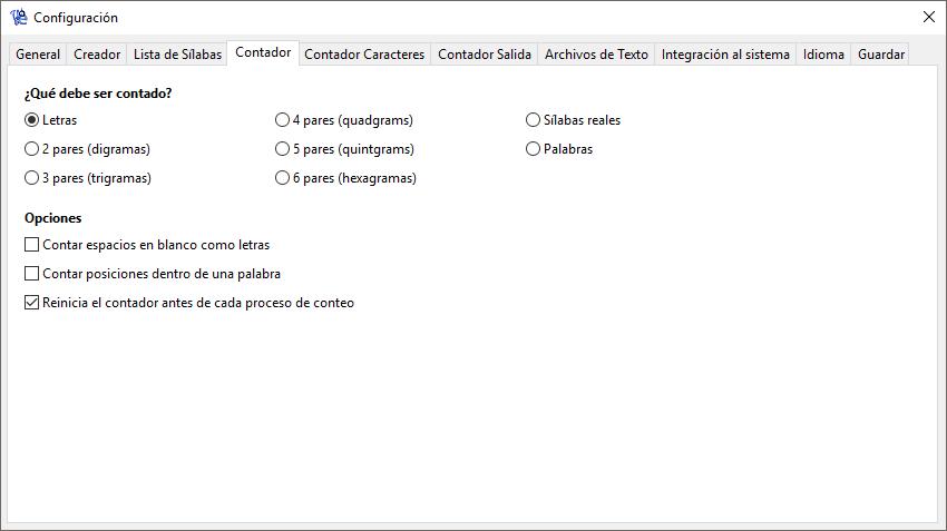 WordCreator - Configuración del Contador - Captura de Pantalla