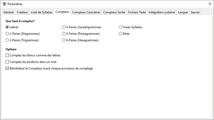 WordCreator - Paramètres du Compteur - Capture d'écran