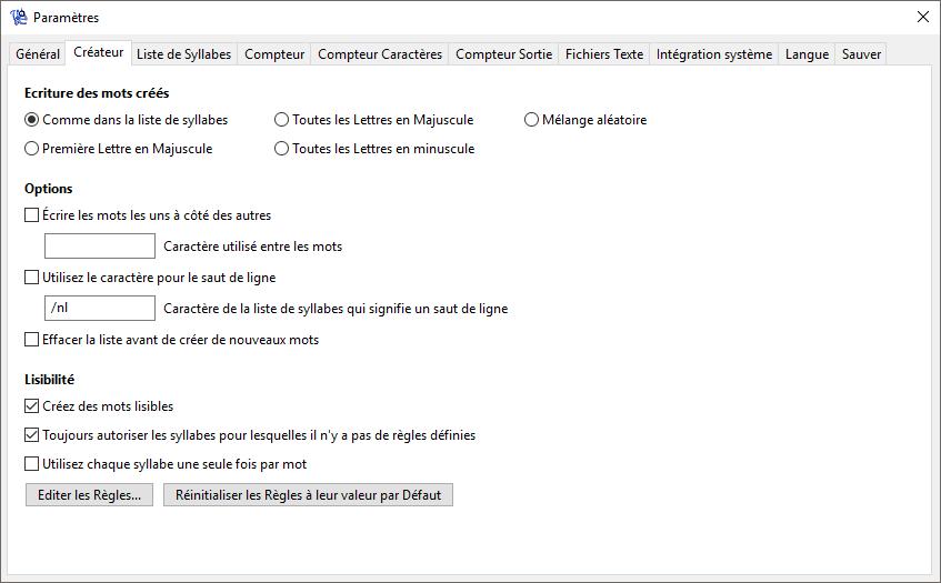 WordCreator - Paramètres du Créateur - Capture d'écran