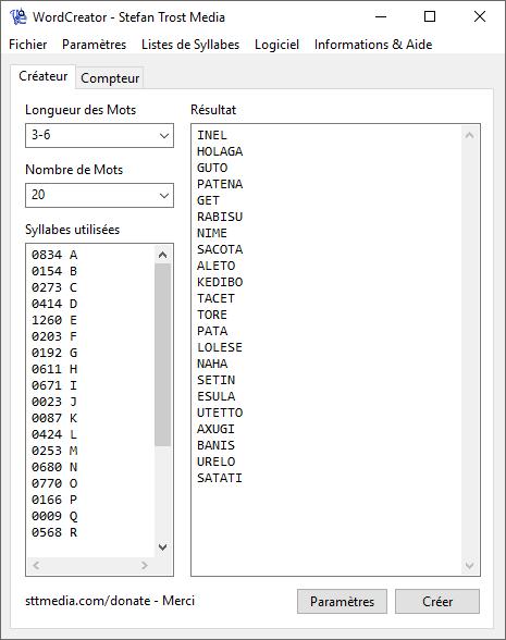 WordCreator - Le Générateur de Mots - Capture d'écran